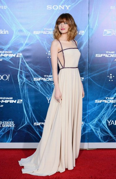 """APRIL: Emma Stone in PRADA attends """"The Amazing Spider-Man 2"""" premiere at the Ziegfeld Theater on April 24, 2014 in New York City. (Getty Images)"""