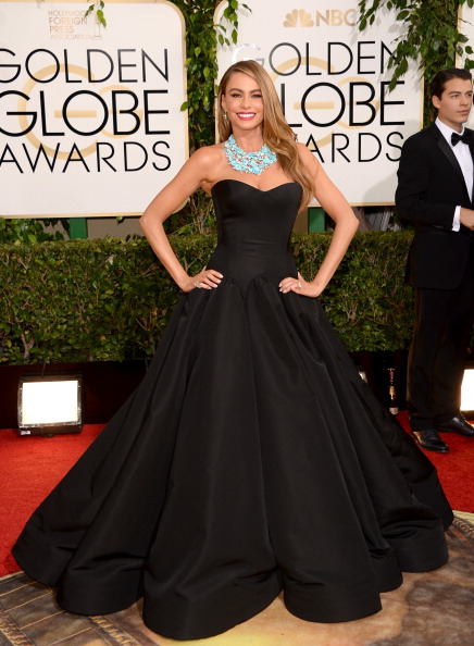 JANUARY: Sofia Vergara in ZAC POSEN attends the 71st Annual Golden Globe Awards held at The Beverly Hilton Hotel on January 12, 2014 in Beverly Hills, California. (Getty Images)