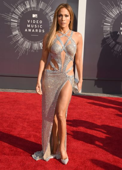AUGUST: Jennifer Lopez in CHARBEL ZOE arrives at the 2014 MTV Video Music Awards at The Forum on August 24, 2014 in Inglewood, California. (Getty Images)