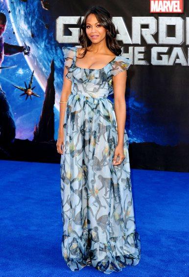 JULY: Zoe Saldana in VALENTINO  attends 'Guardians of the Galaxy' film premiere, London, Britain - 24 Jul 2014 (Rex Features)