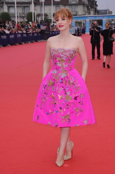 SEPTEMBER: Jessica Chastain in OSCAR DE LA RENTA arrives at the opening ceremony of 40th Deauville American Film Festival  on September 5, 2014 in Deauville, France. (Getty Images)