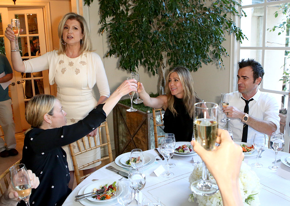 Arianna Huffington hosts a special lunch at home for Jennifer Aniston to celebrate CAKE on January 6, 2015 in Los Angeles, California/ Getty Images