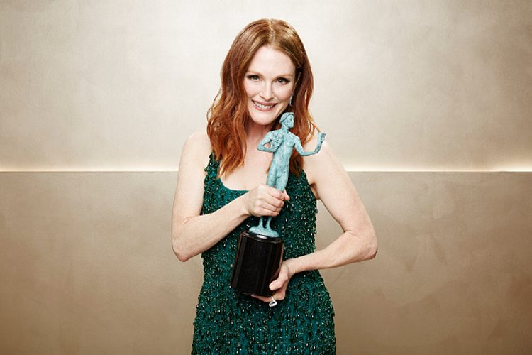 In this exclusive coverage image, winning actress Julianne Moore poses during TNT's 21st Annual Screen Actors Guild Awards at The Shrine Auditorium in Los Angeles, California. More portraits of the SAG wnners are available. (Photo by Kevin Mazur/WireImage)