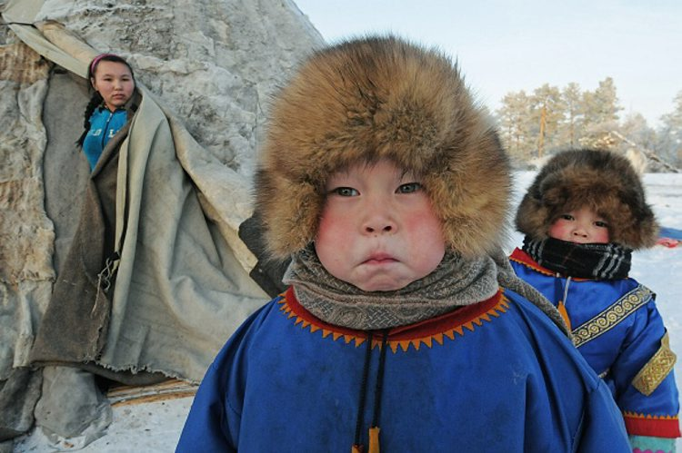 Kindergarden kids of the tundra near Khanty-Mansiysk, Russia. he first in the Purovsky area nomadic group for children from 1,5 to 6 years,  created on the basis of municipal educational institution 'Kindergarten 'Dewdrop' in a fishing settlement of Khadutey of the Kharampurovsky tundra in two kilometers from the village of Khampur, Yamalo-Nenets Autonomous Area. (Andrey Shapran/Kommersant Photo via Getty Images)
