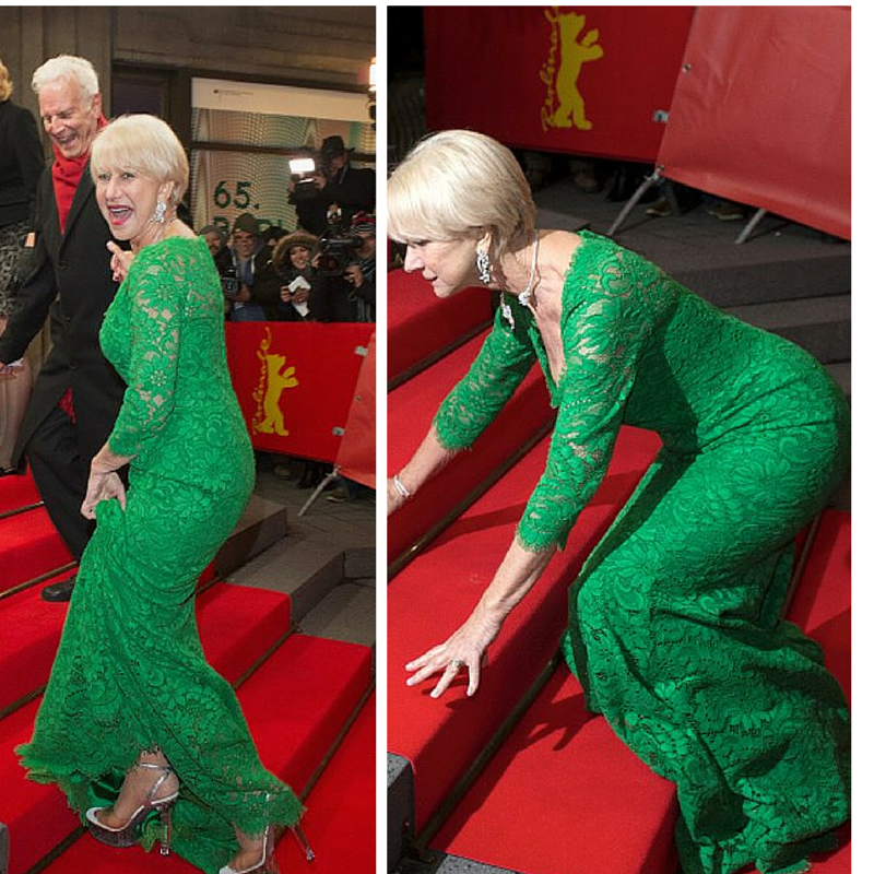 Blame it on the shoes! Helen Mirren (69) stumbles on the red carpet stairs the 'Woman in Gold' premiere during the 65th Berlinale International Film Festival at Friedrichstadt-Palast on February 9, 2015 in Berlin, Germany. (Getty Images combo)