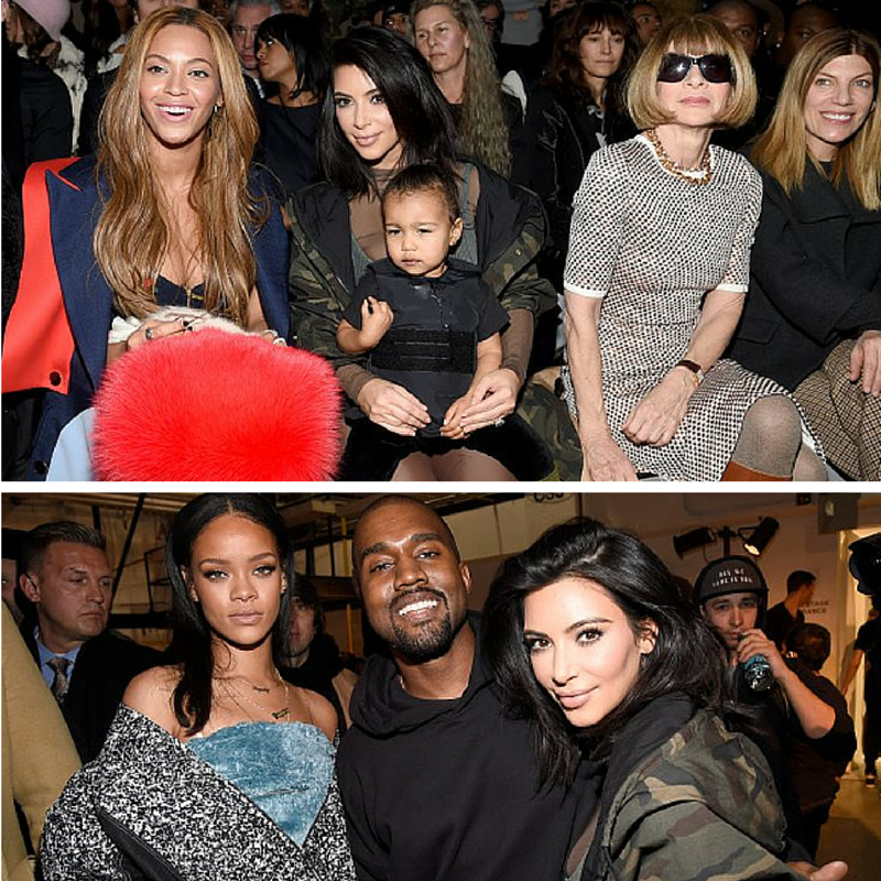 Beyonce, Kim Kardashian with daughter North, Anna Wintour and Rihanna are among the star studded guests of  adidas Originals x Kanye West YEEZY SEASON 1 fashion show during New York Fashion Week Fall 2015 at Skylight Clarkson Sq on February 12, 2015 in New York City. (Getty Images)
