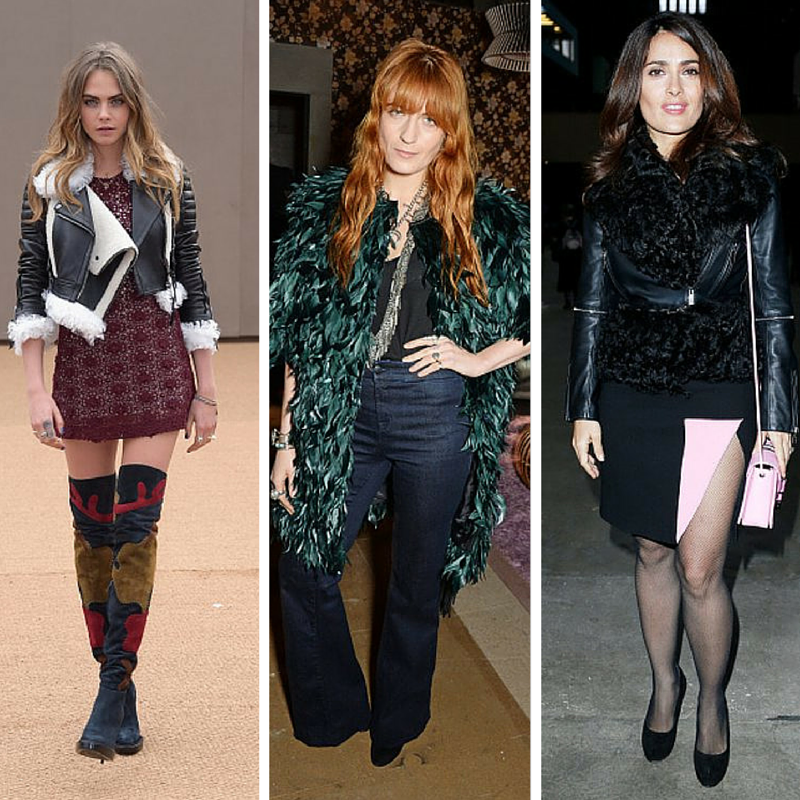 Everyone has a favorite designer: Cara Delevingne at Burberry, Florence Welch at Erdem, Salma Hayek at Christopher Kane durinf London Fashion Week. (Getty Images combo)