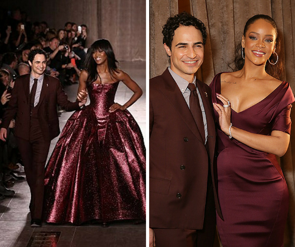 Naomi Campbell walks the runway for the Zac Posen fashion show and Rihanna congratulates him backstage at Vanderbilt Hall at Grand Central Terminal on February 16, 2015 in New York City. (Getty Images combo)