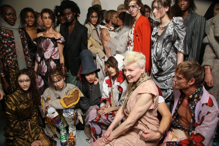 Designer and models backstage at the  Vivienne Westwood show, Autumn Winter 2015, Paris Fashion Week, France. (Rex Features)